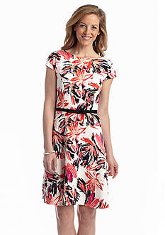 Gabby Skye Printed Scuba Belted Fit and Flare Dress