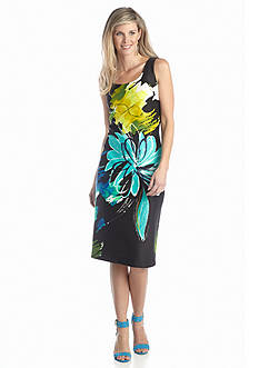 Gabby Skye Floral Printed Midi Sheath Dress