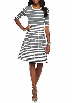 Gabby Skye Stripe Fit and Flare Sweater Dress