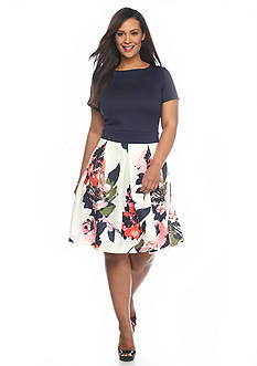 Gabby Skye Plus Size Printed Jacquard Fit and Flare Dress