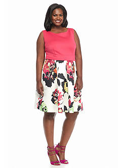 Gabby Skye Plus Size Mixed Media Fit and Flare Dress