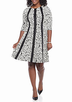Gabby Skye Plus Size Floral Printed Fit and Flare Dress