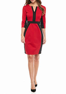Gabby Skye Colorblock Ponte Sheath Dress