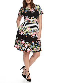 Gabby Skye Plus Size Floral Stripe Fit and Flare Dress