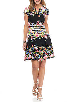 Gabby Skye Floral Stripe Fit and Flare Dress