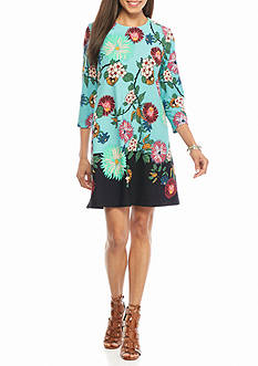 Gabby Skye Floral Printed Trapeze Dress