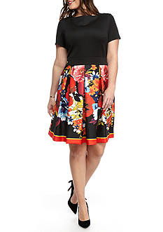 Gabby Skye Plus Size Floral Jacquard Skirt Fit and Flare Dress