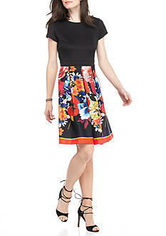 Gabby Skye Floral Jacquard Skirt Fit and Flare Dress