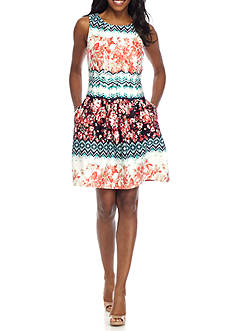 Gabby Skye Printed Fit and Flare Scuba Dress
