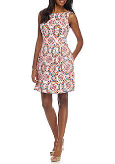 Gabby Skye Print Flit and Flare Dress