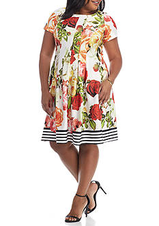 Gabby Skye Plus Size Printed Fit and Flare Dress