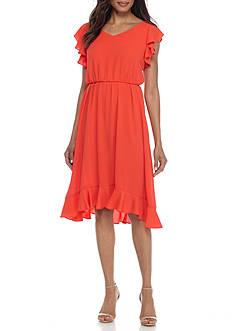 Gabby Skye Ruffle Crepe Blouson Dress