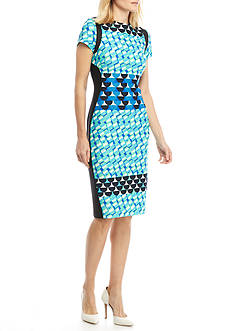 Julian Taylor Geometric Print Scuba Dress