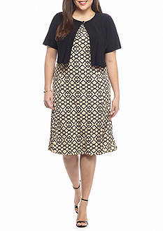 Danny & Nicole Plus Size Printed Jacket Dress