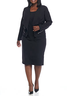 Danny & Nicole Plus Size Faux Zip Pocket Jacket Dress