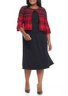 Danny & Nicole Plus Size Ponte Jacket Dress