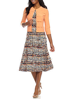 DN Designs by Danny & Nicole Sleeveless Printed 2-Piece Jacket Dress