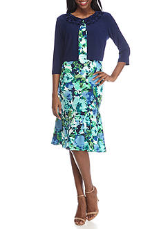 Danny & Nicole Ruffle Neck Floral Jacket Dress