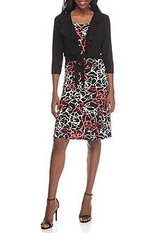 Danny & Nicole Ruffle Neck Patterned 2-Piece Jacket Dress