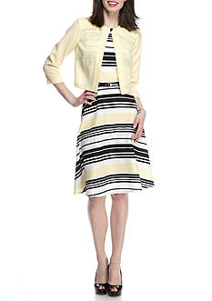 DN Designs by Danny & Nicole Striped A-line Jacket Dress
