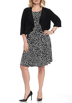 DN Designs by Danny & Nicole Plus Size Ruffle Cardigan Fit and Flare Dress
