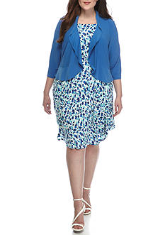 Danny & Nicole Plus Size Dot Print Jacket Dress