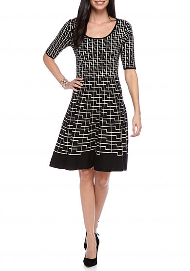 Gabby Skye Printed Fit and Flare Sweater Dress