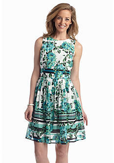 Julian Taylor Floral Printed Cotton Fit and Flare Dress
