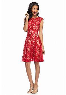Julian Taylor Fit and Flare Lace Dress
