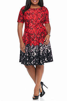 Julian Taylor Plus Size Floral Printed Scuba Fit and Flare Dress