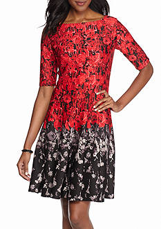 Gabby Skye Floral Printed Scuba Fit and Flare Dress
