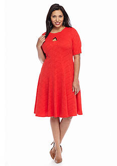 Julian Taylor Plus Size Textured Knit Fit-and-Flare Dress