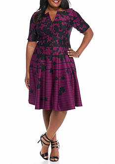 Julian Taylor Plus Size Floral Stripe Scuba Fit and Flare Dress