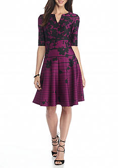 Julian Taylor Floral Stripe Scuba Fit and Flare Dress