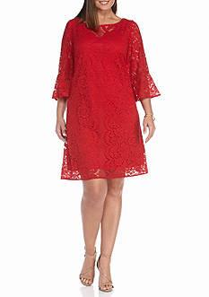 Gabby Skye Plus Size Lace Trapeze Dress