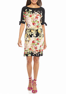 Julian Taylor Floral Printed Tie-Sleeve Shift Dress
