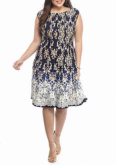 Danny & Nicole Plus Size Printed Fit and Flare Dress