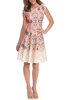 Julian Taylor Printed Fit and Flare Dress