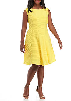 Julian Taylor Plus Size Rib Knit Fit-and-Flare Dress