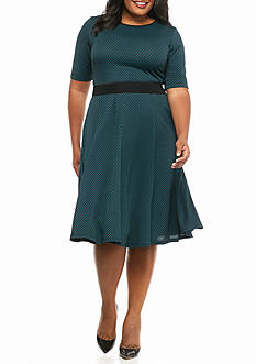 Julian Taylor Plus Size Belted Fit and Flare Dress