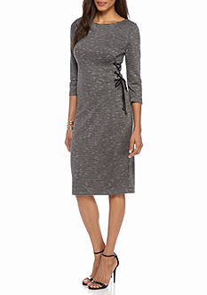 Julian Taylor Lace-Up Side Striped Knit Dress