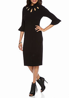Julian Taylor Bell-Sleeve Rib-Knit Midi Sheath Dress