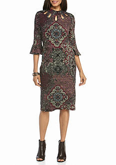 Julian Taylor Printed Bell-Sleeve Sheath Dress