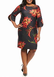 Julian Taylor Plus Size Floral Printed Scuba Sheath Dress
