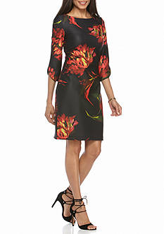 Julian Taylor Floral Printed Scuba Sheath Dress