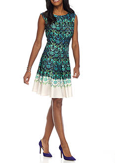 Julian Taylor Printed Scuba Fit and Flare Dress