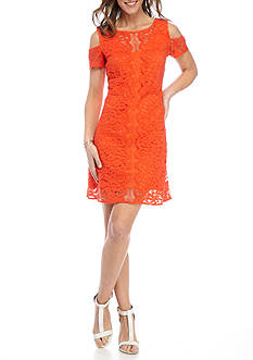 Julian Taylor Cold Shoulder Lace Shift Dress