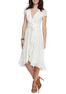 Julian Taylor Chiffon Ruffle Wrap Dress
