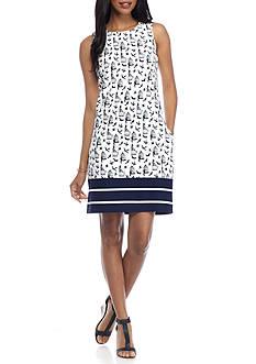 Julian Taylor Shift Bird Border Print Dress