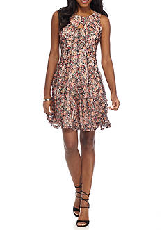 Julian Taylor Printed Lace Keyhole Dress
